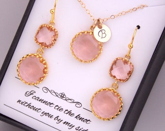 Gold Peach Earrings, Peach Earring and Necklace Set, Peach Necklace, Initial, Personalized, Gold Filled, Bridesmaid Jewelry Set, Gift Set