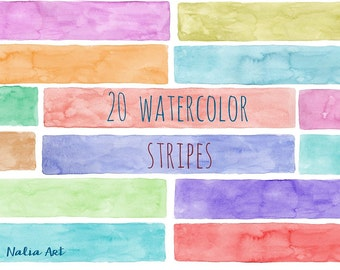 Buy 3 for 9 USD - Stripes watercolor, Handpainted watercolor, digital clipart, cards, invitationsrt, multicolor, colorful PNG