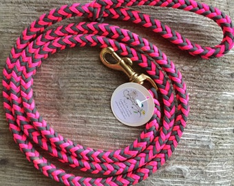 Paracord Dog Leash ~ Pink and Grey 8' paracord dog leash