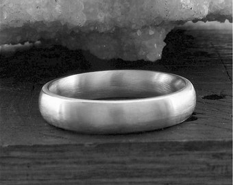 Wedding ring, silver court brushed finish 4mm wide band for a woman or a man