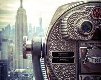 NYC Skyline Print - New York City Skyline Beside Viewing Binoculars, New York Print, Empire State Print - New York Photography Print