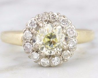 Veronica Cluster Yellow Diamond Vintage Engagement Ring