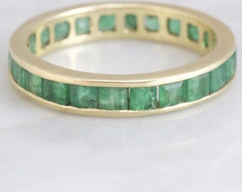 Whitney- Emerald and Yellow Gold Vintage Eternity Band