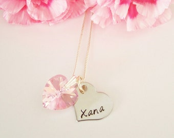 Valentine's Day Personalised Name Heart Swarovski Pink Crystal Heart Sterling Silver Necklace Couple Love Present Gift Women Girlfriend