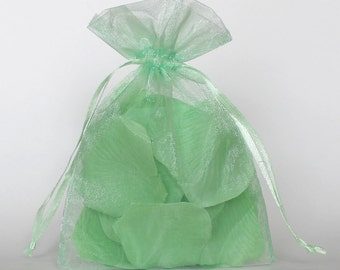 Organza Gift Bags, Mint Green Sheer Favor Bags with Drawstring for Packaging, pack of 50