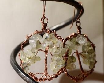 Tree of Life Earrings Gemstone Earrings Wire Wrapped Earrings