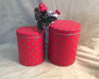 Christmas Nesting Tins, Red Nesting Tins with Christmas Trees