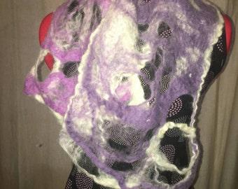 Merino wool cobweb felted scarf