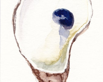 """Small Oyster Original Watercolor Painting 3x5"""""""