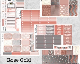 Rose Gold Glitter Full 6 Page Weekly Kit for the Vertical Erin Condren Life Planner