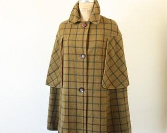 Vintage 1960s Sherlock Holmes Wool Blend Plaid Cape