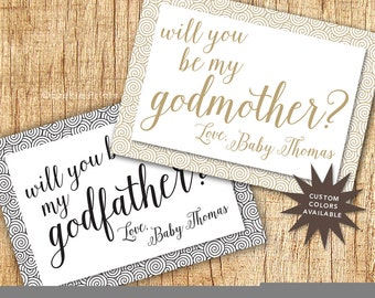 Printable Godparent Announcement Cards