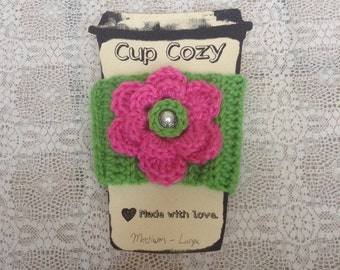 Green Cup Cozy With Pink Flower With Silver And Pearl Button / Cup / Bottle / Travel Cup / Mug / Coffee / Crochet Cozy