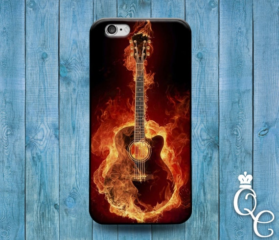 iPhone 4 4s 5 5s 5c SE 6 6s 7 plus iPod Touch 4th 5th 6th Generation Cool Guitar Fire Music Band Rock n Roll Phone Cover Fun Cute Case
