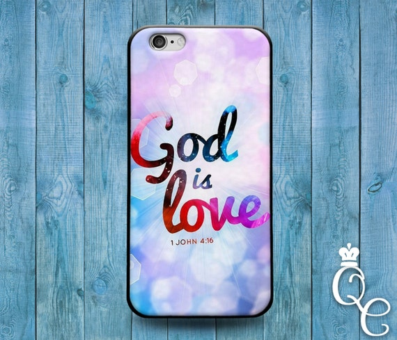 iPhone 4 4s 5 5s 5c SE 6 6s 7 plus iPod Touch 4th 5th 6th Generation Cover God is Love Bible Verse Quote Fun Cute Christian Phone Case
