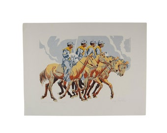 """Western L/E Print """"Close Order Drill"""" African-American Buffalo Soldiers"""