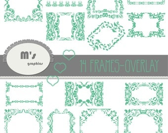 Frames Labels Hearts Green Jade Damask Overlay. Transparent, to use with favourite background. Everyday is Valentine!