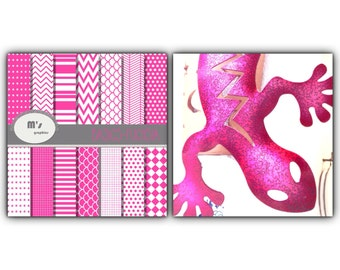 Digital Paper White PinkFuchsia. Dots Chevron Stripes Hering Stars 14 Digital papers and 2 backgrounds (Fuchsia  and white)