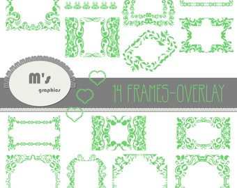 Labels Hearts Green Damask Overlay. Transparent, to use with favourite background