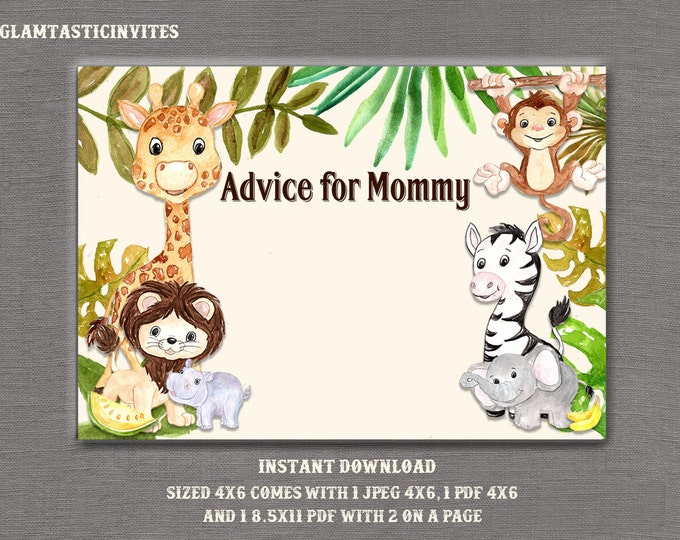 Advice for Mommy, Advice for Mom, Safari Advice for Mommy, Jungle Advice for Mommy, Baby Shower Game, Baby Shower, Jungle Baby Shower,Safari