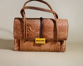 Original 40ties Vintage Brown Meleé Leather Nubuck Bag, Handbag