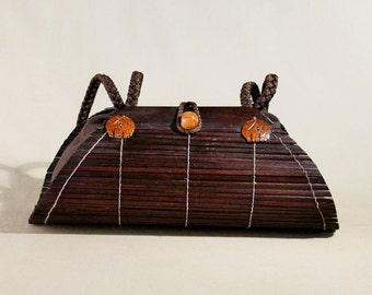Vintage Oriental Brown Rotan Bag, Handbag, Shoulderbag, Summer Bag, Handbag, Hippie Bag, Bohemian Bag