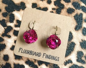 Swarovski Crystal Drop Earrings in Fuchsia