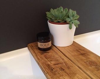 Rustic Wooden Bath Tray Shelf Caddy