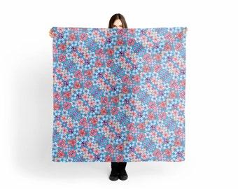 Blue Cascading Floral Scarf/Shawl