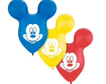 """MICKEY Mouse Ears balloons 15"""". Mickey mouse balloons. Mickey balloons. Mickey party decor. Mickey party supplies. Mickey clubhouse balloons"""
