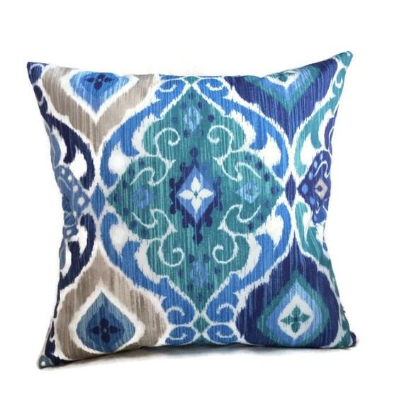 Aqua Blue Brown Indoor Outdoor Throw Pillow Cushion Cover
