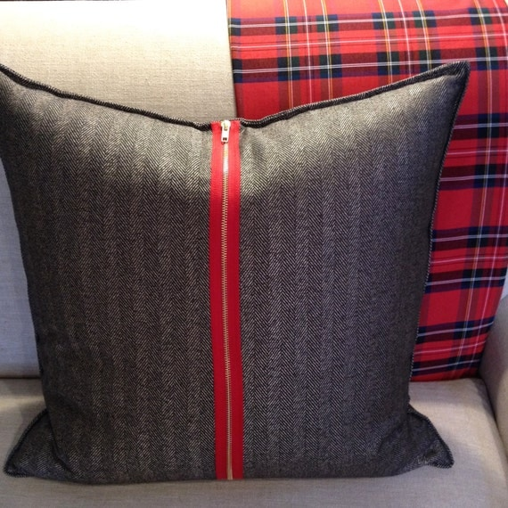 Black & Gold Herringbone Pillow Cover