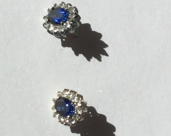 Vintage Art Deco Sapphire Diamond Earrings