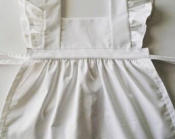 Pinafore apron dress in linen/linen blend