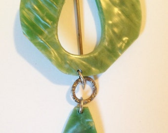 Vintage Green Celluloid Pin
