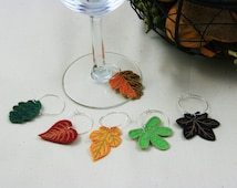 Thanksgiving Wine Charms, Fall Wine Charms, Fall Leaves Wine Charms, Leaf Wine Markers, Thanksgiving Wine Markers, set of 6