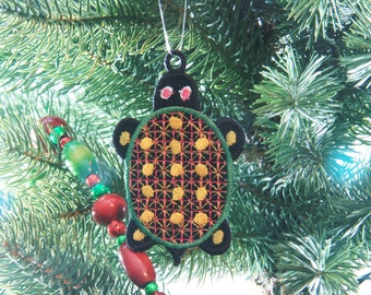 African Ornament, Turtle Christmas Ornament, African Christmas Ornament, African Inspired Ornament, African Turtle Ornament, FSL Ornament
