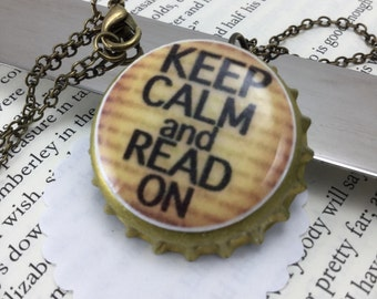 NECKLACE- Keep Calm and Read On bottle cap necklace