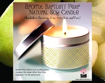 Bartlett Pear (No. 15) Soy Candle (Available in Four sizes 2 oz., 4 oz., 6 oz., 8 oz.)