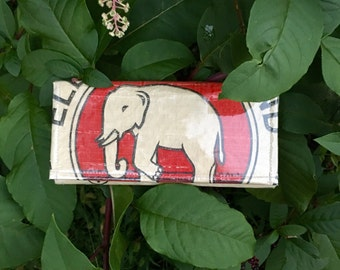 Ecofriendly recycled rice bag elephant wallet! Handmade!