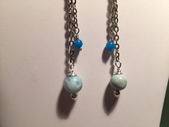 Dominican Republic Larimar Chain Earrings Sterling Silver Ear Wires. Lava Beads for Essential Oil Aromatherapy. Blue Jade Beads.