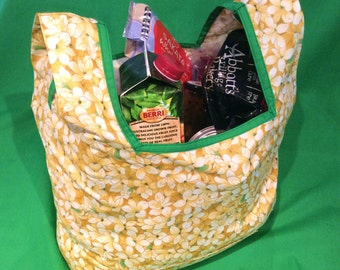 Eco Shopping Bag, Fold Up, Tote, Beach Bag, Yellow Spring Flower, 37cm x 54cm