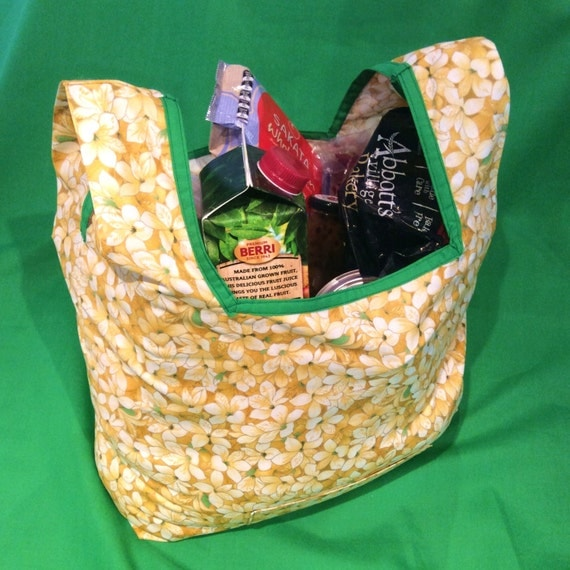 Eco Shopping Bag, Fold Up, Tote, Beach Bag, Yellow Spring Flower, 37cm x 54cm