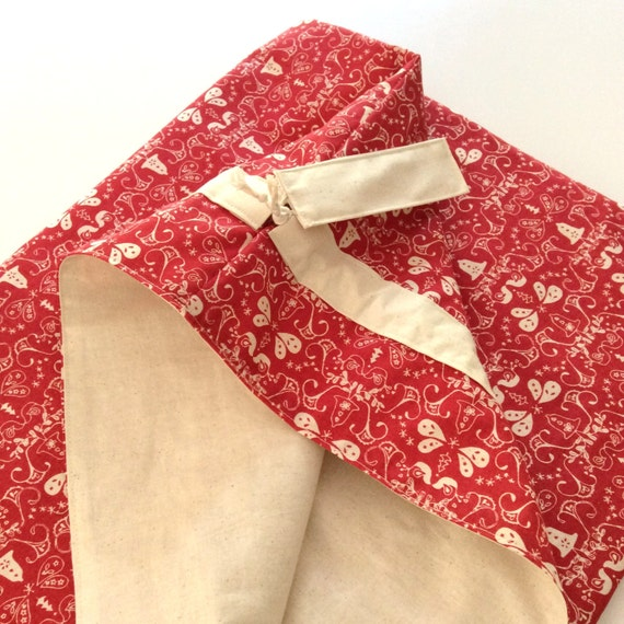 Christmas Santa Sack, Hand Made, Large 54cm x 74cm, Fully Lined Red & Calico