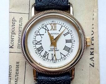 MINT Vintage Women's Gold Plated USSR Russian Watch Zaritron Quartz Water Resist NOS