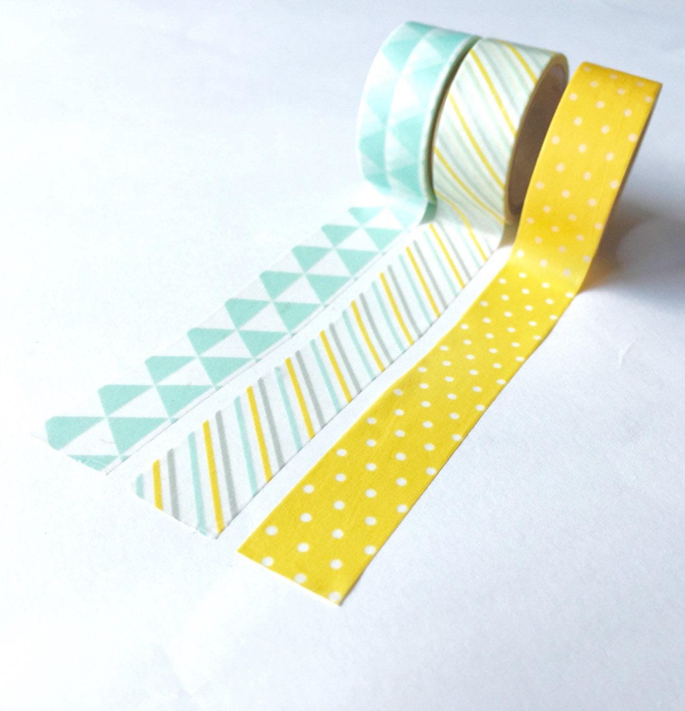 Washi tape yellow mint geometric theme set of tree rolls for Geometric washi tape designs