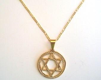 18 k gold filled david star necklace / 18k gold filled estrella de david
