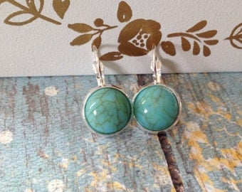 Turquoise Earrings-Cabochon Earrings, Turquoise, Dangle Earrings, Earrings, Silver Earrings, Jewelry, Leverback Earrings, Turquoise Jewelry