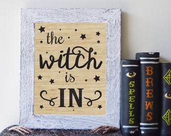 """The Witch Is In, Rustic Burlap Halloween Print, 8""""x10"""", Instant Download"""