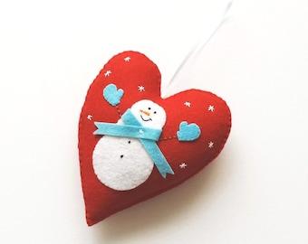 Snowman Ornament - Christmas Ornament - Snowman Felt Ornament - Christmas Decor - Holiday Decoration - Home Decor - Stocking Stuffer